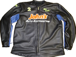 This is one of our 2012 custom jackets. John's Auto Restoration is cut out of Leather and the name is sewed in.